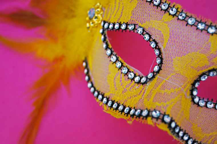 pink and yellow mask